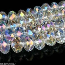 100pc Faceted Rondelle glass crystal 4*6mm Beads White AB