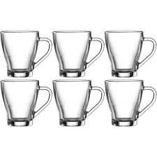 Set Of 6 275ml Hollywood Glass Mugs Tea Coffee Latte Cappucino Hot Drinks Cups