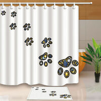 "Creative Dog Paw on White 71"" Waterproof Fabric Shower Curtain Bath Mat 12 Hooks"