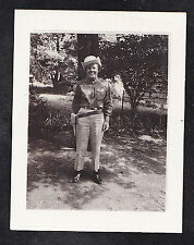 Vintage Photograph Woman Wearing Cowboy Outfit - Hat - Holster in Yard