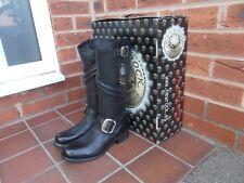 NEW ROCK Black Leather Calf High BIKER Boots * 3 uk * GOTH * PUNK * BNIB