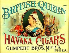 "TIN SIGN ""British Queen Cigars"" Smokiing  Deco  Garage Wall Decor"