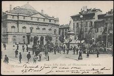 cartolina MILANO piazza della scala col monumento a leonardo
