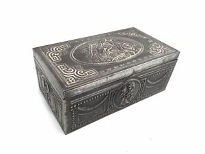 Vintage French Pewter Repousee Wooden Lined Cigarette Trinket Box Shepherd