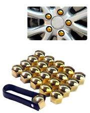 17mm CHROME GOLD Wheel Nut Covers with removal tool fits ALFA ROMEO