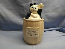 "Cat Treat Jar ""Purrfect Treats"" Ceramic Black White Cat Kitty Waiving Excel Cond"
