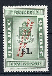 Weeda Quebec QL119 VF MNH 'Bankruptcy Act/Loi de Faillite' Law Stamps CV $75