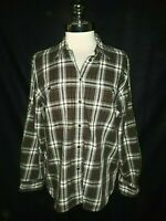 LAUREN RALPH LAUREN Size 12 Blouse Shirt Top Black Red Plaid Long Sleeve Cotton