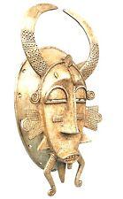 Art Africain - Rare Masque Kpélié Senoufo en Aluminium - Côte d'Ivoire - 28 Cms