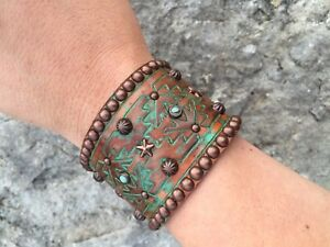 Rowdy Cowgirl Genuine Leather Bracelet Handcrafted, Studded Bronze & Turquoise