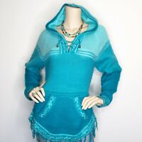 Spirit Of The Andes Medium Turquoise Hooded Fringe Sweater Alpaca Wool