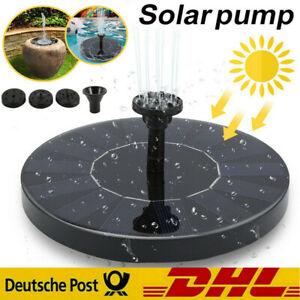 Solar Pumpe Brunnen Teichpumpe Springbrunnen Fontäne Garten Wasserspiel Düse DHL