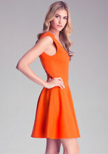 Ralph Lauren Black Label Fit and Flare Alaia Style Orange Dress Size S Small