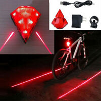 Rechargeable Cycling Bicycle Bike Rear Tail 8 LED Light+2 Laser Flashing Lamp Z