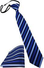 Security Sicherheits Krawatte + Einstecktuch in blau dunkelblau mit Gummizug