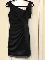 WHITE By VERA WANG Size 2 Sheath Dress Black Cocktail Bridesmaid Ruched Bow Zip