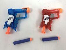 Lot of 2 Nerf Jolt Single Shot Gun Red & Blue With Darts