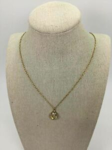 Catherine Popesco Yellow Goldtone Faceted Crystal Pendant Chain Link Necklace