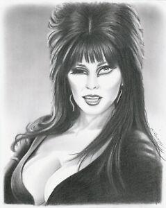 Elvira Mistress of the Dark Winking 8x10 Original Graphite Drawing Horror Movies