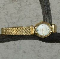 "Helbros Diamond Accent Textured Gold Tone Bracelet Watch 7 1/4"" Wrist New Batter"