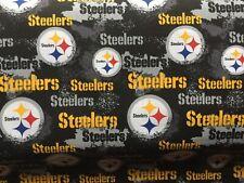 Nfl Pittsburgh Steelers Black Cotton Fabric - Pre Cut 1/2 Yard (18�x44�)