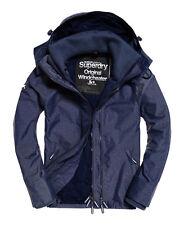 Superdry Mens Windcheater Jacket Coat Navy Harringbone Windtrekker M