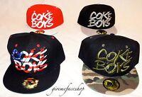 Coke boys snapback caps, flat peak fitted baseball hip hop hats, mens and ladies