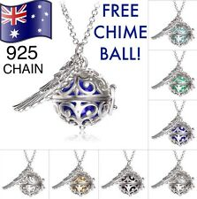 Angel Caller Harmony Chime Ball Wing Pendant 925 Sterling Silver Chain Necklace