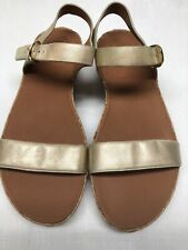 """FitFlop Women's Cork Wedge Sandals Gold Leather Straps 2"""" Heel Size 9M"""