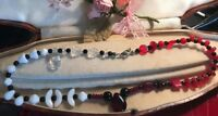 Vintage Red Black White Abstract Patterned Glass and quartz Bead Necklace
