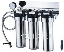 Water filter 3 stage under sink stainless steel with tap pressure gauge filters