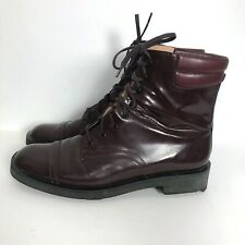 Robert Clergerie Brown Leather Boots 39 8.5 Womens Shiny Lace-Up Bootie France