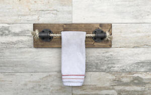 Rope Hand Towel Holder With Vintage Wood, Nautical Design, Towel Bar, Towel Rack