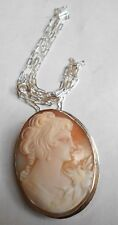 Cameo Pendant-Brooch. Very Nice. Antique Carved Shell & Silver
