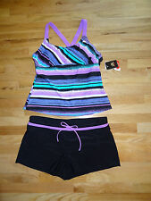 New Womens ZeroXposur Tankini Swimsuit Purple Top Black Shorts Bottom 12 NWT $94
