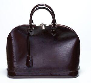 Louis Vuitton Paris LV Alma Burgundy Epi Patent Leather Women's Bag GM