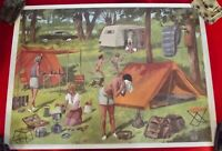 Ancienne Affiche Scolaire Rossignol EO Camping dans les années 50 chasse lapin