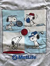 Vintage SNOOPY Met Life T shirt Sports NOS 1980s 90s Hanes Gray Cotton Sz XL USA