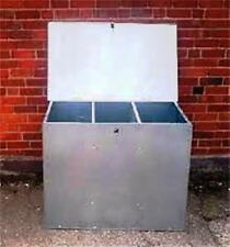 Galvanised Feed Bins With Three Compartments Horse Chicken Dog Cat Storage