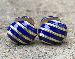 Antique Art Deco French 18k Yellow Gold Royal Blue Enamel Men's Cufflinks 15.2g