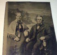 Antique Victorian American Fashion Old Elderly Couple, Shawl Lady! Tintype Photo