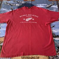 Men's XXL 2XL Red Detroit Red Wings NHL Hockey T-Shirt 10x Stanley Cup Champs