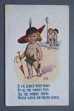 R&L Postcard: Comic, CPC, Adam & Eve Fig Leaf Joke, Nudity Naturism Joke