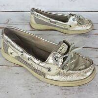 Sperry Top-Sider Angelfish Gold Shiny Leather Slip On Boat Shoes Womens Size 5.5