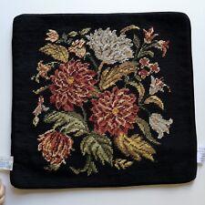 Vintage needlepoint wool floral/flower Pillowcase15'' ; x 15''