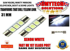 2 PCS 3 SMD LED INTERIOR FUSE LIGHTS VANITY/ SUN VISOR MIRRORS GLOVEBOX 31MM