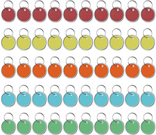 Round Metal Rim Plastic Key Tags, Assorted Colors Label, 100 Pack for Car Keys