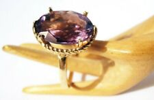 14K Amethyst Ring w Great Lines Signed Rope Setting Like Boat Yellow Gold Size 8
