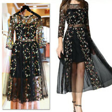 Women Mesh Embroidery Floral Evening Party Wedding Dress Ball Gown Plus M-4XL