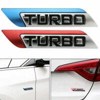 Car Body Fender Emblem Badge Decal Sticker 3D Turbo Logo Left/Right Sticker 1Pc